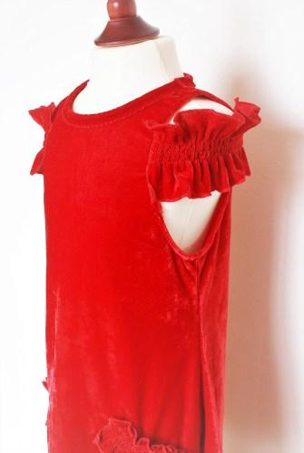 Kleid PrinzessinnenSalma Panne Rotes Samt Für uTOkiPXZ
